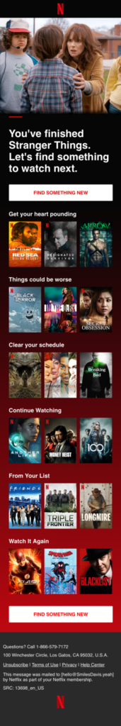 Netflix's email showing great personalisation